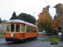 am Visitor Centre des Shoreline Trolley Museum